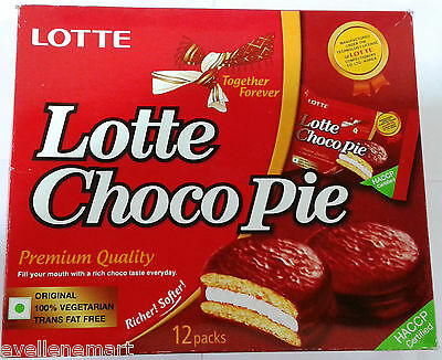 Lotte Choco Pie : Contains 12 x 28 gm packs : 100% Vegetarian : Richer & Softer