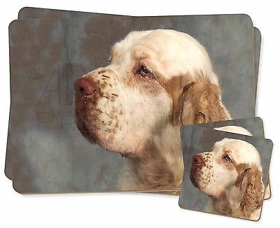 Clumber Spaniel Dog Twin 2x Placemats+2x Coasters Set in Gift Box, AD-CS1PC