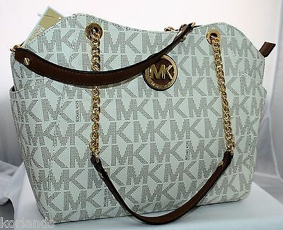 NEW MICHAEL KORS JET TRAVEL VANILLA PVC MK LARGE CHAIN SHOULDER TOTE BAG