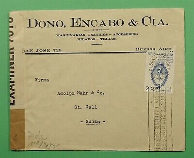 DR WHO 1943 ARGENTINA TO SWITZERLAND WWII CENSOR C241565