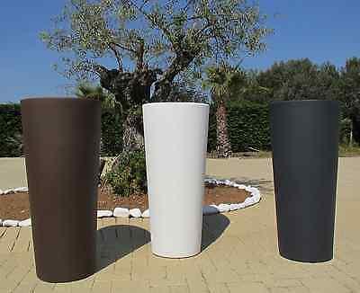 Vaso resina tondo alto vasi moderni H 85 x34x38 con cache pot Made in Italy