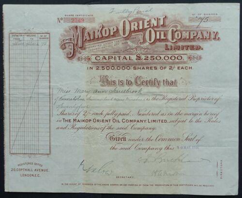 Russia/UK - Maikop (Maykop/Майкоп) Orient Oil Co. - 1916 - 75 shares