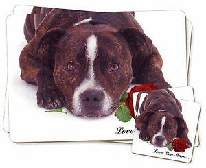 Staffie-CON-ROSAS-039-Love-You-Mum-039-Individual-2x-Manteles-2x-Posavasos-SE
