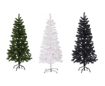 Artificial Christmas Tree Green,White & Black 2,3,4,5 6 & 7FT Xmas Decorations Black Artificial Christmas Tree