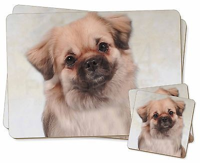 Tibetan Spaniel Dog Twin 2x Placemats+2x Coasters Set in Gift Box, AD-TS1PC