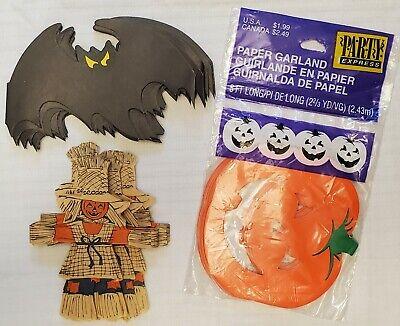 Lot 3 Vintage Halloween Taiwan Bat, Scarecrow, Hallmark Pumpkin Paper Garland