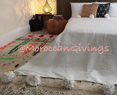 Moroccan Handwoven Pom Pom Blanket/100% Natural Cotton/ 59