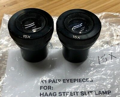 Pair 15x Eyepieces For Haag Streit Slitlamp Slit Lamp Ophthalmology Eye Pieces