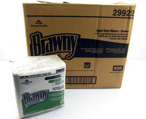 NEW Case Brawny Industrial 29922 Light Duty Wipes Wipers Brown 600 12 Packs 50 P
