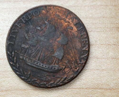 1794 Liverpool Half Penny Token Sailing Ship