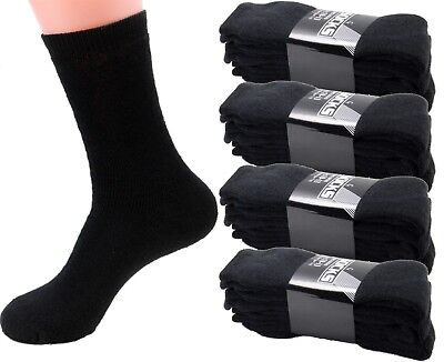 3 6 12 Pairs Mens Black Sports Athletic Work Crew Cotton Socks Size 9-11 10-13 ()