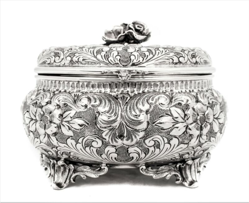 ITALIAN 925 STERLING SILVER OVAL GARLAND & FLORAL INTRICATE ESROG JEWELRY BOX
