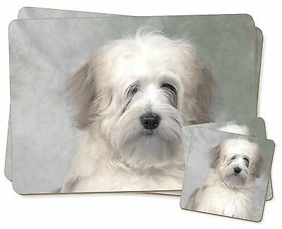 White Tibetan Terrier Dog Twin 2x Placemats+2x Coasters Set in Gift Bo, AD-TT1PC