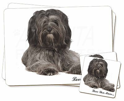 Tibetan Terrier 'Love You Mum' Twin 2x Placemats+2x Coasters Set in, AD-TT2lymPC