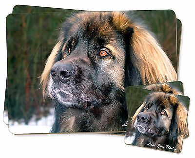 Leonberger Dog 'Love You Dad' Twin 2x Placemats+2x Coasters Set in Gif, DAD-68PC