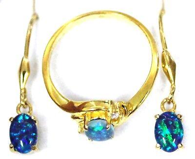 Natural Triplet Australian Opal Ring&Earring Fashion Birthstone Anniversary Gift