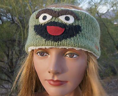 Oscar The Grouch Headband (deLux OSCAR THE GROUCH HEADBAND snowboard Leather tag earband SESAME)