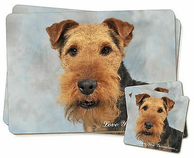 Welsh Terrier 'Love You Grandma' Twin 2x Placemats+2x Coasters Set , AD-WT1lygPC