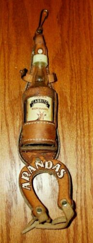 Vintage Cabrito Repsado Arandas Mexico Leather Mini Tequila Bottle Holder