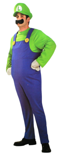 Adult Mens Luigi Costume Set One Size Cosplay Outfit Gamer Fancy Dress Up New