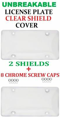 2 UNBREAKABLE CLEAR BUBBLE LICENSE PLATE TAG HOLDER FRAME BUMPER SHIELD COVER - Unbreakable Bubbles