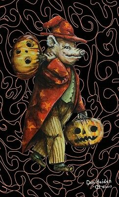 Anthropomorphic Halloween Pig Vintage Style Original Sketch Postcard Signed!!!