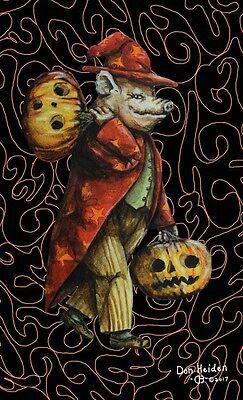 Anthropomorphic Halloween Pig Vintage Style Original Sketch Postcard Signed!!! (Signed Vintage Postcard)