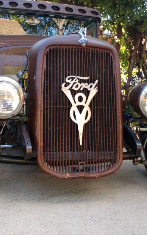 Ford V8 Engine Emblem Flathead Sign Truck Car Vintage Antique Parts Gas Pump Can