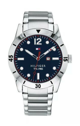 Tommy Hilfiger  Men's Blue Dial Metal Strap Watch 1791459 $95 Jewelry & Watches