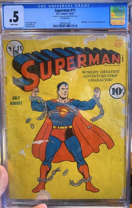 Superman 11 CGC graded 0.5 WHITE - Classic cover - cgc