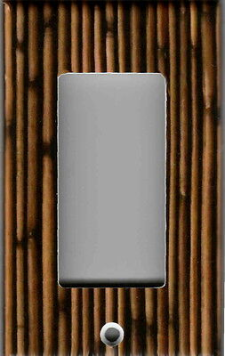 BROWN BAMBOO PRINT HOME WALL DECOR GFI OUTLET ROCKER LIGHT SWITCH PLATE