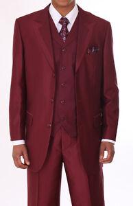 New men s 3 piece suit stylish modern high fashion suit burgundy 5907