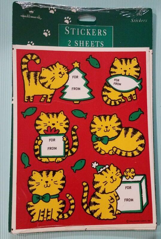 NIP Hallmark Stickers + Gift Tags Cute TABBY CATS FISH Whimsy Christmas Holidays