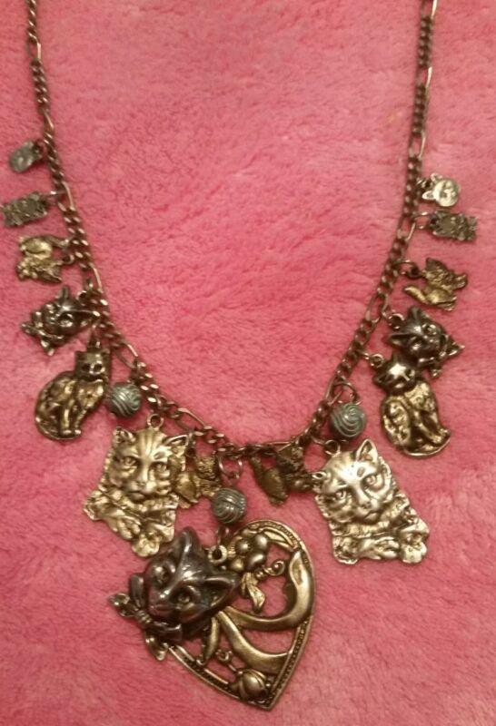 """Vintage CAT LOVERS CAT KITTEN HEART Necklace w/ Multi Pendants 20"""" Chain"""