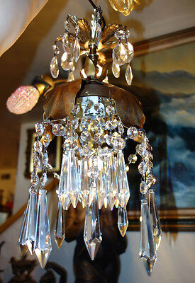 1of7 Vintage gilt Tole Brass  Italy Lily Florentine SWAG plugin lamp chandelier