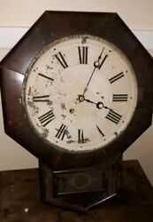 Antique NEW HAVEN MAHOGANY Octagon Drop School House Clock c.Late 1800'S as is