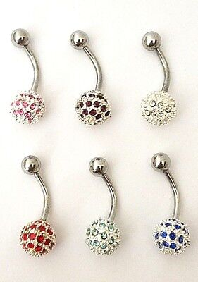 925 Sterling Silver CZ Pave Disco Ball Curved Surgical Spinal Navel Belly Ring 925 Sterling Silver Belly Ring
