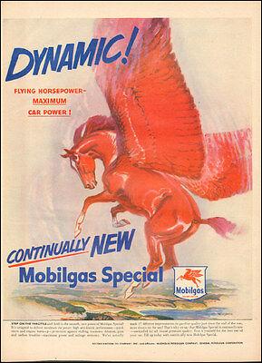 1950's Vintage ad for Mobilgas`Socony-Vacuum Oil`Horse Wings Art.   ( 032117)