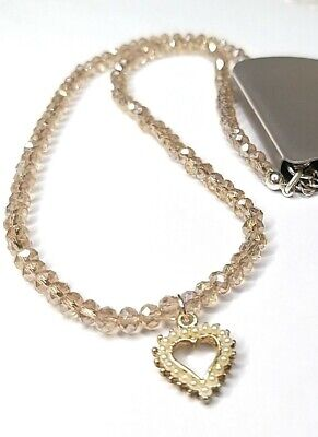 Redherring Glass Champagne Sparkly Beads With Pearly Heart pendant Necklace ZB2