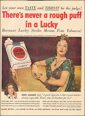 1950's Vintage ad for Lucky Strike Cigarettes`Hedy Lamar Actress    ( 032117)