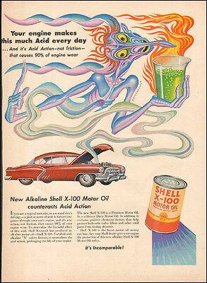 Vintage ad for Shell X-100 Motor Oil Retro Car Art  ( 032117)