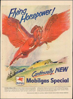 Vintage ad for Mobilgas`Socony-Vaccum Oil Comp. Horse Retro Car ( 032117)