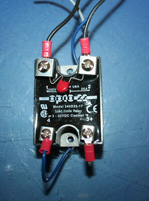 Opto 22 Model 240D25-17 Solid State Relay 25A Load 240VAC 3-32VDC Control