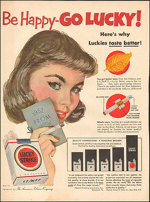 1950's Vintage ad Lucky Strike Cigarettes Prom 1952 pin-up Model Art( 032117)