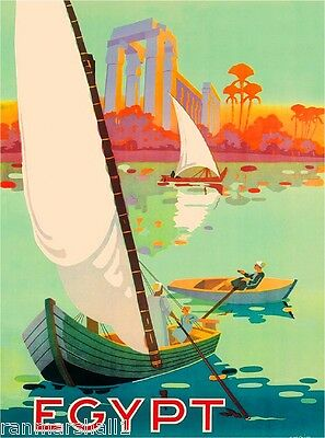 Along the Nile Egypt Egyptian Middle East Vintage Travel Advertisement Poster