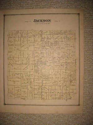 ANTIQUE 1874 JACKSON TOWNSHIP MAHONING COUNTY OHIO HANDCOLORED MAP RARE FINE NR
