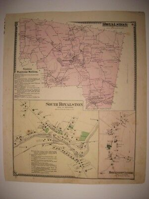 ANTIQUE 1870 SOUTH & ROYALSTON & CENTER WORCESTER COUNTY MASSACHUSETTS MAP RARE