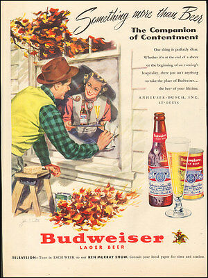 1950's Vintage ad for Budweiser Lager Beer`Art Fall Window Glass    ( 032117)