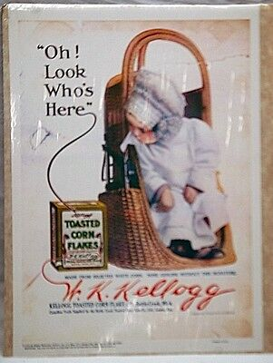 Repro Ad 1910 Kellogg's Toasted Corn Flakes Cereal Advertising Ad Baby in Basket