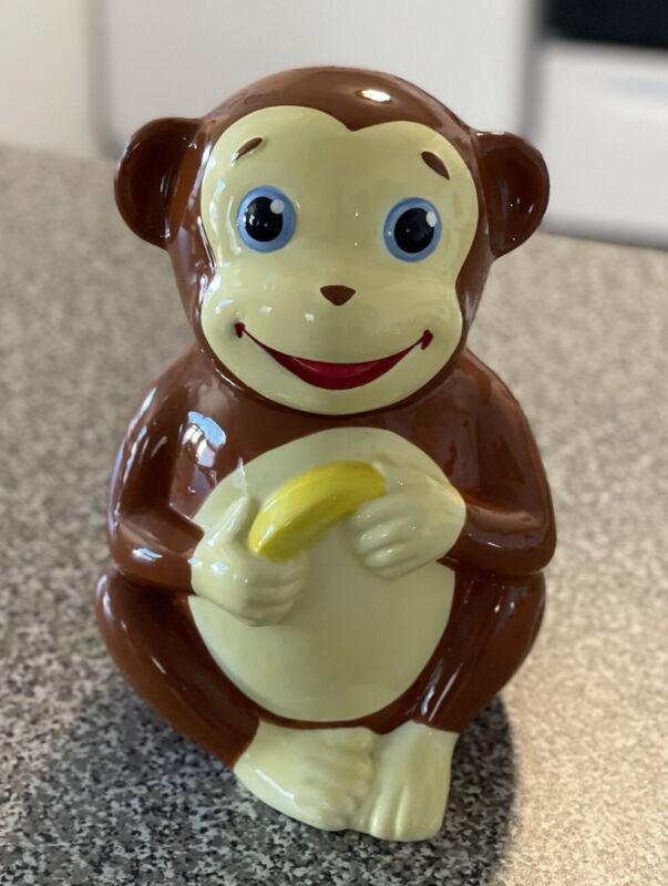 "Sunny Patch ""Mostly Monkey"" Cookie Jar Monkey Holding Banana 10.5"" Tall 2008"